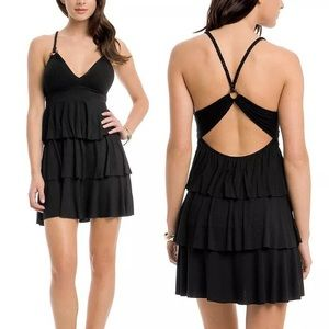 GuessBraided Strap Back Cut Out Tiered Dress LBD